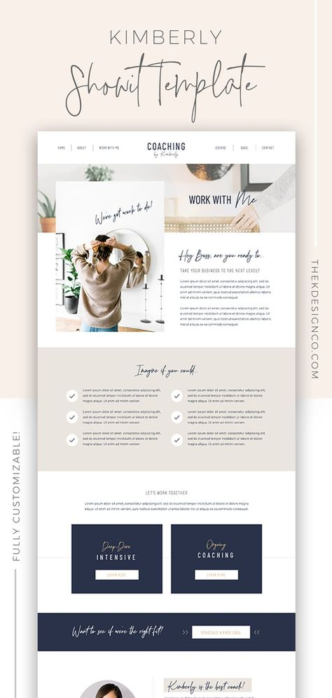 Kimberly Showit Website Template | Website Template for Coaches