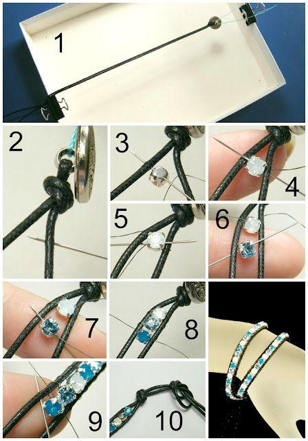 Tutorial wrap bracelet with swarovski chaton ( Chan Luu style )