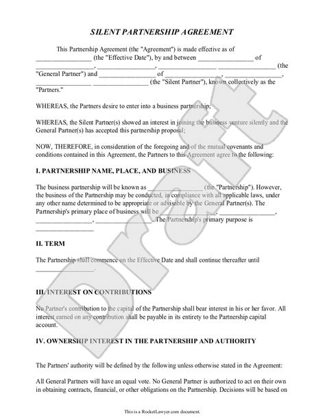 Easy digital partnership agreement form A\A Pinterest - partnership agreement free template