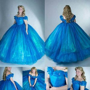 Cinderella Disney Dress Kostum Cosplay Gown 2015 Live Action Movie Womens Custom Size Dressesfromtheso In 2020 Disney Dresses Belle Dress Disney Victorian Era Dresses