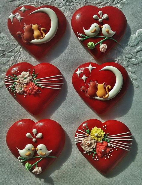 Handmade Valentine's Day Decorated Cookies Gifts 6 pieces Fancy Cookies, Iced Cookies, Royal Icing Cookies, Sugar Cookies Recipe, Cupcake Cookies, Summer Cookies, Heart Cookies, Easter Cookies, Christmas Cookies