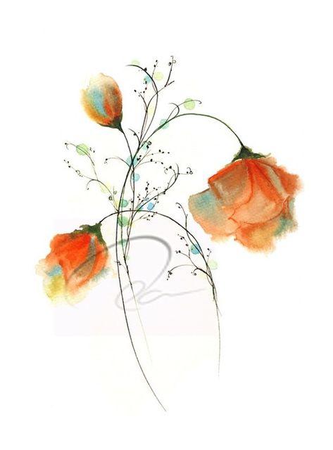 Aquarelle Peinture Fleurs Art Floral Aquarelle Fleurs