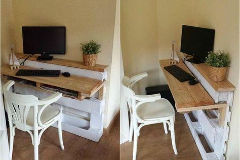 Bureau en bois palettes chaise peinture blanche ordinateur bureau