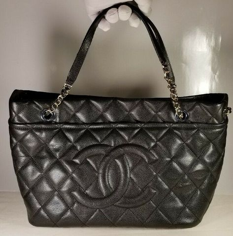 9b00f5aea9e8 100% AUTHENTIC CHANEL LARGE QUILTED SHOULDER SHOPPING TOTE BAG BLACK CAVIAR  - $1913