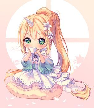 Video Commission Flower Tea Time By Hyanna Natsu Cute Anime Chibi Cute Kawaii Drawings Chibi Drawings