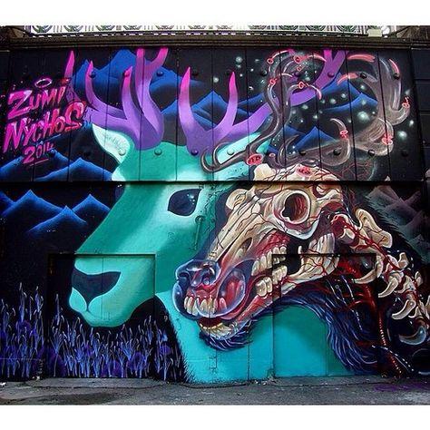 Work by @marinazumi and @nychos • Vienna, Austria #streetart