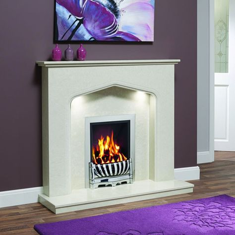 """Traditional design featuring a classic Tudor arch and chamfered detailing. Supplied complete with surround, back panel and standard lipped hearth. Ideal for gas and electric fires. Piera 48"""" Micro Marble Surround - JUST £799 #Fireplaces #Marble #DiscountFireplaces #Cheap #Fire #HomeImprovement #HomeDecor"""