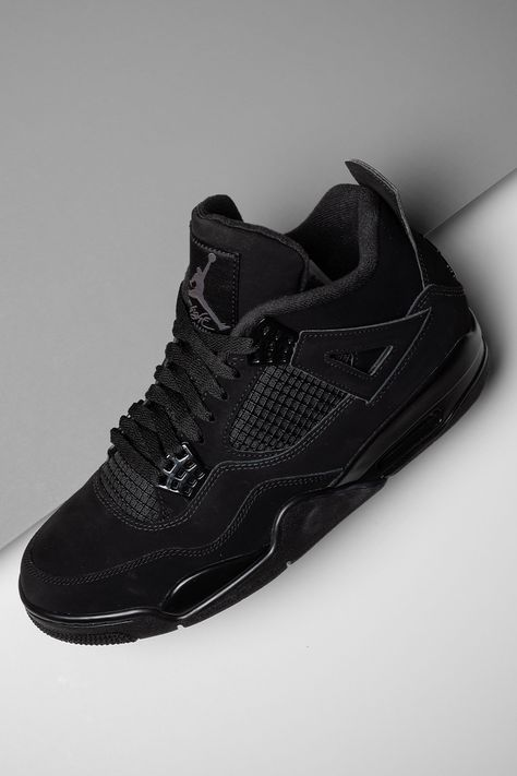 """Back in black. The second-ever release of the Air Jordan 4 """"Black Cat"""" is more than just another stealthy look for the sake of versatility. Michael Jordan's lesser-known nickname serves as the inspiration here, giving the shoe an """"in-the-know"""" quality. Jordan 11, Jordan 4 Black, Jordan Retro 4, Michael Jordan, Jordan Shoes Girls, Air Jordan Shoes, Girls Shoes, Nike Shoes Air Force, Nike Air Max"""