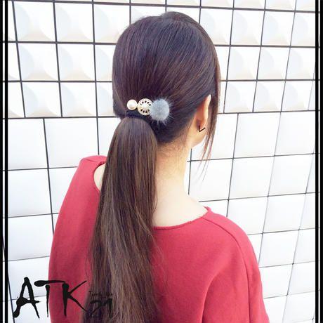 ファー アンティーク ゴールド 透かし サークル パール かわいい 髪留め 前髪 ダッカール ヘアクリップ 簡単ヘアアレンジ