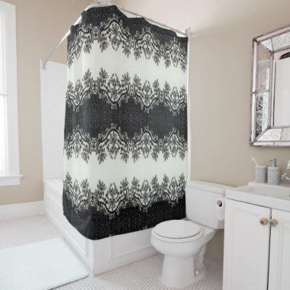 Gatsby Glamour Chic Floral Black White Rhinestone Shower Curtain Zazzle Com In 2020 Floral Shower Curtains