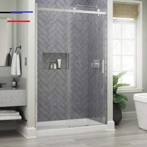 Delta Portman 48 X 71 In Frameless Contemporary Sliding Shower Door In Bronze With Mozaic Glass Sd2832500 The Home Depot Slidingshowerdoors I 2020