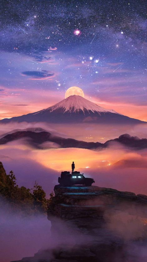 Volcano Moon iPhone Wallpaper Free – GetintoPik