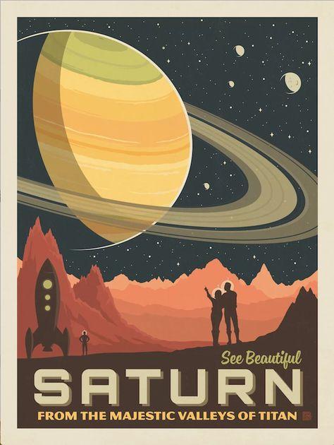'Saturn - Retro/vintage space travel poster ⛔ HQ-size' Poster by DJ Alex Aveel Poster S, Poster Prints, Flugblatt Design, Retro Design, Flyer Design, Plakat Design, Space Illustration, Digital Illustration, Vintage Space