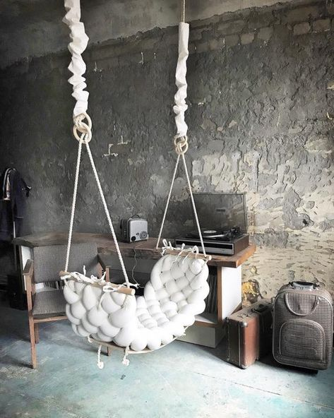 One of a kind beautiful interior design element - wooden linen swing. Looks beautiful in any interior and works as fun element. Works as kids or adult swing. Gorgeous photography prop or wedding decoration that will help wedding photographers make amazing photos.  Handmade out of natural linen