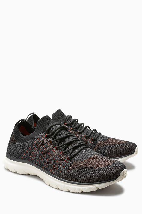 Mens Next Black Sport Sock Knit Trainer - Black
