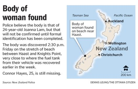 Body of woman found in New Zealand on Friday