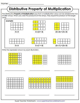 Properties Of Multiplication Printable Worksheets Distributive Property Of Multiplication Properties Of Multiplication Distributive Property