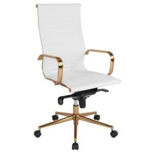 Flash Furniture White Leather Gold Frame Office Desk Chair Bt9826hwhgd The Home Depot In 2020 Contemporary Office Chairs Swivel Office Chair High Back Chairs