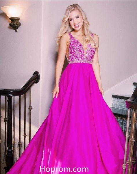3124a79701c44 A Line Tank Straps Purple Prom Dresses V Neckline Beading Evening Dresses