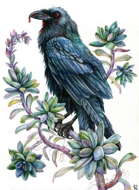 ACEO PRINT OF PAINTING CROW RAVEN RYTA GOTHIC CELTIC MAGIC FANTASY ILLUSTRATION