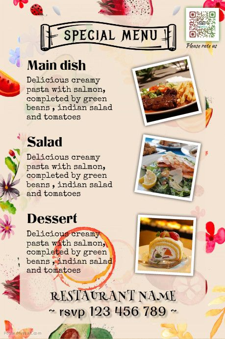 Restaurant \ catering services menu design http\/\/wwwpostermywall - sample cafe menu template