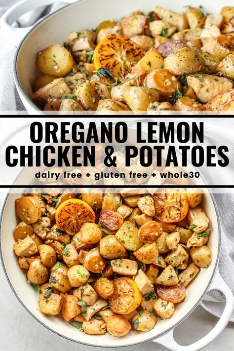 Gluten free meals 536772849340189321 - Chicken and potatoes sauté together in this easy skillet meal. Fresh oregano, lemon, and garlic flavor every bite! And it's all dairy free, gluten free, and compliant. Source by thewholecook Gluten Free Recipes For Dinner, Gf Recipes, Healthy Recipes, Dairy Free Keto Meals, Easy Yummy Recipes, Gluton Free Meals, Gluten Dairy Free, Best Recipes For Dinner, Gluten Free Dinners