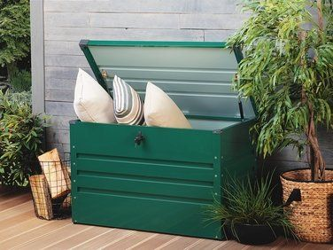 Coffre De Rangement Vert 100 X 62 Cm Cebrosa Coffre De Jardin