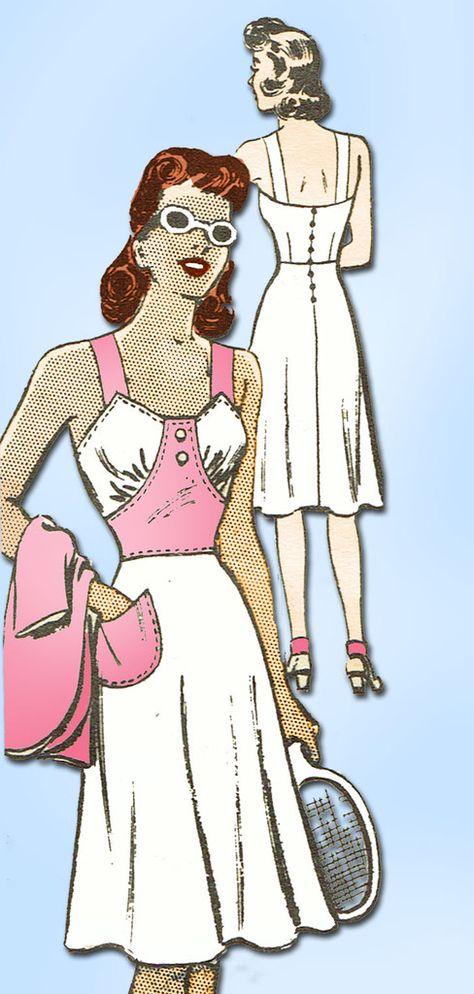 1940s Vintage Marian Martin Sewing Pattern 9061 Uncut Sexy WWII Sun Dress Sz 12