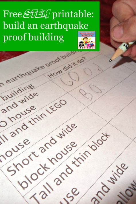 earthquake activity STEM printable and earthquakes hands-on lesson