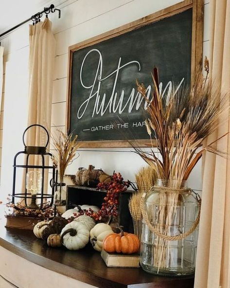 Thanksgiving Decorations, Seasonal Decor, Holiday Decor, Rustic Thanksgiving, Fall Home Decor, Autumn Home, Autumn Fall, Autumn Leaves, Fall Mantel Decorations
