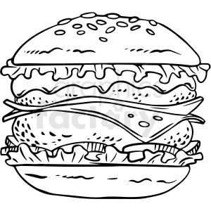 Black And White Cheeseburger Vector Clipart Clipart Commercial Use Image 411730 Vector Clipart Clip Art Black And White