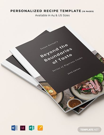 Personalized Recipe Template Word Indesign Apple Pages Publisher Recipe Template Food Template Recipes