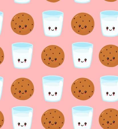 Cute Happy Smiling Chocolate Chip Cookie And Glass Of Milk Pattern Wallpaper Ponsel Ponsel