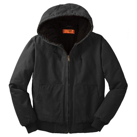 Cornerstone Men's Black Washed Duck Cloth Insulated Hooded