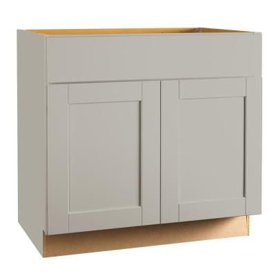 Create Customize Your Kitchen Cabinets Shaker Base Cabinets In Dove Gray The Home Depot Kitchen Base Cabinets Cabinet Design Shaker Kitchen Cabinets