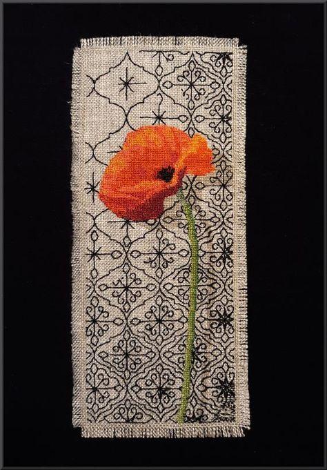 Pattern, Orange Poppy Cross Stitch on Quatrefoil Blackwork Bookmark, Instant Download