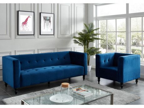 Canape 3 1 Places Margaux En Velours Bleu Nuit Decoration