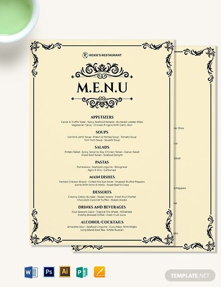 Instantly Download Classy Classic Dinner Menu Template Sample Example In Microsoft Word Doc A Menu Design Template Menu Card Template Free Menu Templates