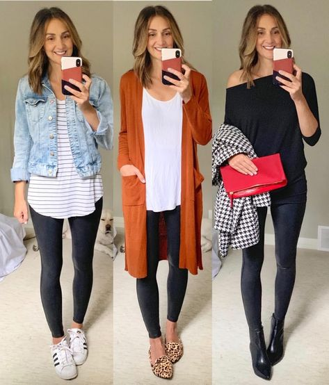 How To Style Spanx Faux Leather Leggings - Kari Skelton Shoes With Leggings, Leggings Outfit Winter, Spanx Faux Leather Leggings, Dresses With Leggings, Leggings Fashion, Legging Outfits, Outfits With Leather Leggings, Leggings Style, Leather Skirts