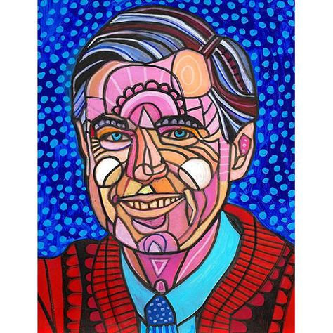 Mister Rogers Original Painting By Heather Galler Abstract Modern Folk Art Fred Rogers Tv American Icon Portrait Art Original Paintings Poster Prints