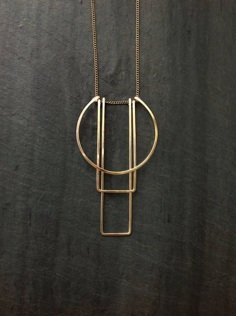 Geometric Gold Necklace Simple Totem Necklace L.Greenwalt Jewelry Bow Jewelry Sterling Silver Gold Deco Geometric Architectural - Simple Totem Necklace – Loop Jewelry Shaped and forged pendant lightweight and easy to carry wi -