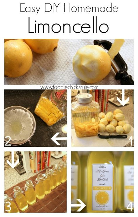 Homemade Limoncello Step by Step - Easier than you think!  #limoncello foodiechicksrule.com
