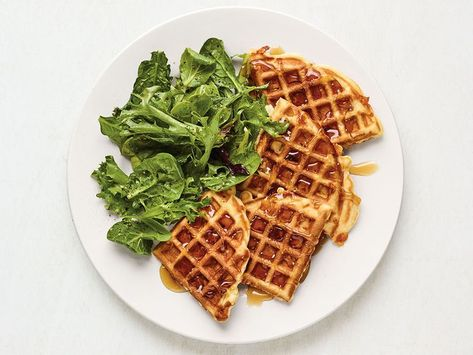 Recipe of the Day: Apple-Cheddar Waffles 🍏 Self-rising flour is the shortcut secret to these fluffy waffles. A small bit of confectioners' sugar in the batter doesn't add detectable sweetness, but it helps keep the waffles moist on the inside and crisp on the outside.