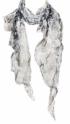 Double Layer 100 Silk Floral Ruffle Silk Scarf Summer Scarf Black White In 2020 Womens Wrap Scarf Summer Scarves Silk Scarf