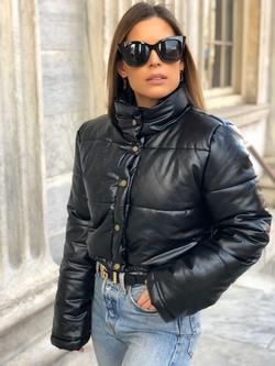 Colleen Cropped Faux Leather Puffer Jacket Black Leather Puffer Puffer Jacket Outfit
