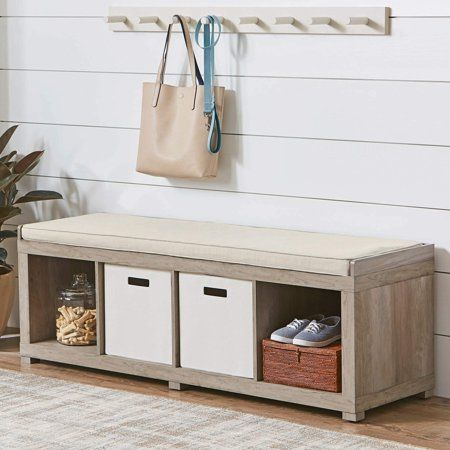 Better Homes And Gardens 4 Cube Organizer Bench Rustic Gray Walmart Com Entryway Bench Storage Entryway Storage Storage Bench