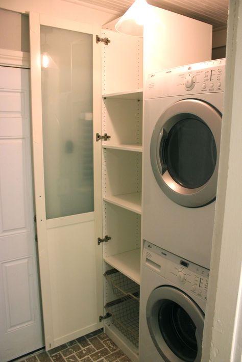 Cabinet for Laundry - Ikea Pax Wardrobe - great idea, great website!