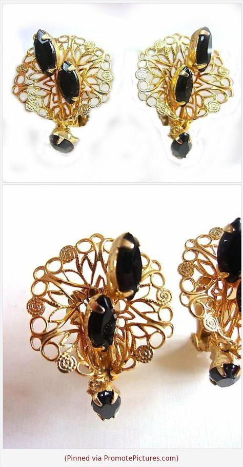 Black Earrings Long Earrings Antique Earrings Vintage Earrings Silver Earrings 1980/'s Earrings
