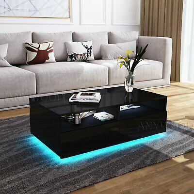 Modern RGB LED Light Coffee Tea Table Solid with 1 Storage Drawers High Gloss