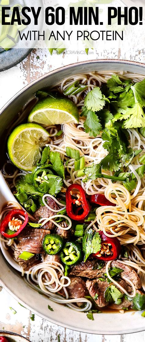 This pho soup recipe will have you slurping a big bowl of steaming hot pho in less than 60 minutes! The easy broth is bursting with beefy, earthy, complex yet delicate flavors laced with quintessential cinnamon, star anise, cloves and cardamon. Use beef, chicken, pork or shrimp! #soup #souprecipes #souprecipeseasy #dinner #dinnerrecipes #dinnerideas #dinnerideas #recipe #recipeoftheday #recipeideas #recipesfordinner #steak #steakrecipes #beef #beefrecipes #pho #phorecipe